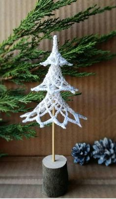 Christmas tree Home decoration Crochet Ornament knitting tree Christmas gift white knit wood little tree Holiday decor Are you ready to get into the New Year spirit? This unusual Christmas tree is perfect for your Christmas table, for the children's room, Unusual Christmas Trees, Crochet Christmas Ornaments, Holiday Crochet, Angel Ornaments, Christmas Angels, Christmas Diy, Christmas Crafts, Christmas Decorations, Holiday Decor