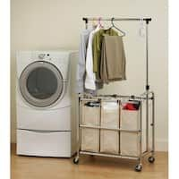 Portable Double Bar Steel Garment Rack Silver Clothes Drying Rack Laundry Sorter Laundry Cart Laundry Hamper