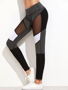 Shop Color Block Mesh Insert Leggings online. SheIn offers Color Block Mesh  Insert Leggings  amp f58c412d1276d