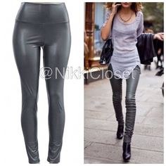 """Gray Faux Leather leggings high waist sexy trendy ❌PLEASE DON'T BUY THIS LISTING,COMMENT ON SIZE NEEDED FOR SEPARATE LISTING❌Gray Vegan Faux leather leggings. Perfect fit  High waist Medium weight Lightly soft Fleece-lined Very Stretchy Fabric 65% Polyester,35% Cotton Measurements (Inseam = 27-28"""") (Total Length= 38-39"""") (Front Rise = 12"""") (Back Rise =14"""") (Small Waist =11-13"""") (Medium Waist =12-14"""") (LargeWaist =13-15"""") (XL Waist =14- 16 """" ) *Price is firm unless bundled. ALSO AVAILABLE IN…"""