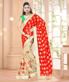 Red Georgette Jacquard Half and Half Saree With Blouse 61474