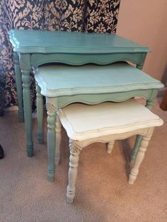 www.facebook.com/AFreshCoatofFabulous Ombre nesting tables in shades of destin gulf green. Distressed, aged, sealed.
