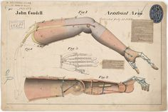 """Patent drawing of Artificial Arm by John Condell, titled """"Improvements in Artificial Arms,"""" issued as patent dated July National Archives, Records of the Patent and Trademark Office. Medical Technology, Medical Science, Weird Inventions, Steampunk, Patent Drawing, Drawing Drawing, Vintage Medical, National Archives, Funny Tattoos"""