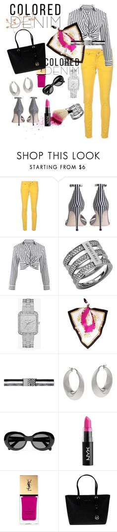 """""""colored denim"""" by csfshawn ❤ liked on Polyvore featuring M Missoni, Zimmermann, T By Alexander Wang, Michael Kors, Liliana, Missoni, VicenzaSilver, Acne Studios, NYX and Yves Saint Laurent"""
