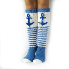 Sea socks with an anchor. High socks for yachts. Knee Socks, High Socks, Warm Socks, Getting Wet, Knitting Socks, Yachts, Anchor, Knit Crochet, Buy And Sell