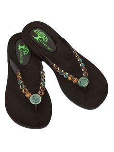 Aqua & Amber Crystal Sandals