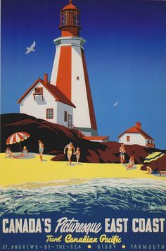 Posters of the Canadian Pacific East Coast Vintage travel beach poster #essenzadiriviera www.varaldocosmetica.it/en