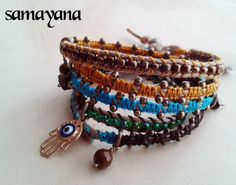 Bracelet Varanasi 5 turns brown wellow and blue gold by Samayana