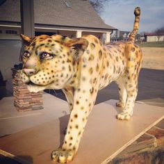 Artist: Sarah Ono Jones Magpies Bakery Knoxville, TN  Custom 3D standing cheetah groom's cake!  #alledible #groomscake #wedding #knoxville #custom #3d #cake #fondant
