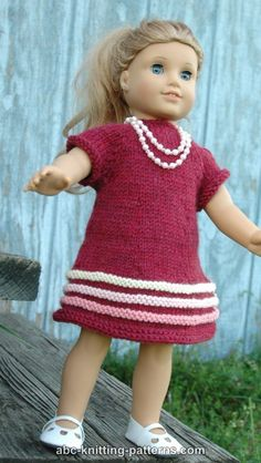 ABC Knitting Patterns - American Girl Doll Raglan Banded Dress