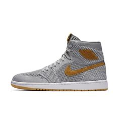 Air Jordan 1 Retro High Flyknit Men's Shoe, by Nike Size 10.5 (Grey)