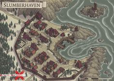 CrossheadStudios Coastal Village Town Map for D&D, Dungeons and Dragons, Pathfinder, and other RPG games. Cartography & Mapmaking