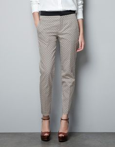 PRINTED TROUSERS WITH CONTRASTING WAIST - Trousers - Woman - New collection - ZARA United States