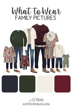 What to Wear for Family Pictures - This family look is perfect for fall and winter Family Photos! This post has 5 different complete coordinating looks from babies to teens. Perfect guide for trying to decide what to wear and plan for family pictures.