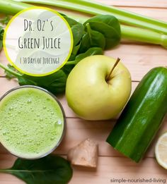 Dr Oz's Green Drink Juice an easy healthy tasty way to start the day 110 calories and 3 Points Plus 30 Days of Juicing Juice Fest Click the image for more info. Healthy Smoothies, Healthy Drinks, Smoothie Recipes, Healthy Snacks, Detox Drinks, Green Smoothies, Healthiest Drinks, Simple Smoothies, Detox Juices