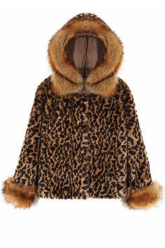 Leopard Faux Fur Hooded Coat OASAP.com
