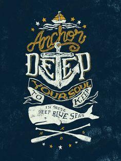 Hand drawn typography nautical poster #illustration