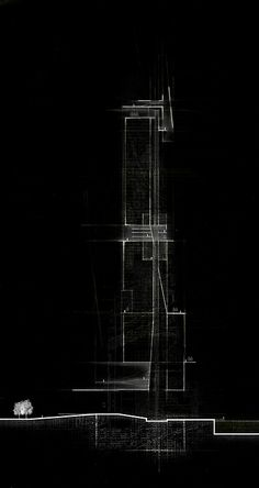 """Erick McGartland, USF School of Architecture, Class of 2016 Adv. Design B: """"Imagining Chicago"""" - Summer 2014, Professor Martin Gundersen Conceptual section analysis of a tower in Chicago"""