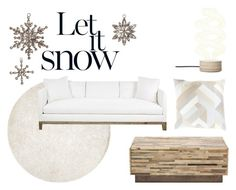 """""""Let it Snow"""" by claudiamcbain ❤ liked on Polyvore featuring interior, interiors, interior design, home, home decor, interior decorating, Cultural Intrigue, Abanja, living room and white"""
