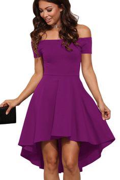 Prix: €16.93 Robes de Cocktail Violet Epaules Denudees Manches Courtes Pas Cher www.modebuy.com @Modebuy #Modebuy #Violet #mode #robes #style
