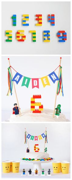 Cake Gallery: Super-Simple Lego Birthday Cake - Cake Gallery: Super-Simple Lego Birthday Cake Decorate a Lego Cake yourself with minifigures and make your own number out of Legos. The personalized cake topper in Lego colors makes it extra-special. Lego Birthday Party, Boy Birthday Parties, 7th Birthday, Birthday Party Decorations, Cake Birthday, Birthday Ideas, Lego Cake Topper, Birthday Cake Toppers, Lego Decorations