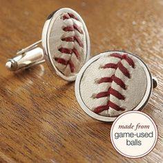 Salute his passion for the game with cuff links that are handmade from baseballs used in the big leagues. Created from authentic game-used Major League baseballs, our MLB Baseball Stiches Cuff Links feature iconic red stiches and unique scuffs and scratches earned in the journey from hand to bat to glove.See available styles in drop downHologram sticker on the back of each cuff link comes with an authentication number to look up (in the MLB database) teams that played together in that ...