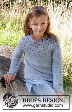 Knitted sweater for kids in DROPS Sky. Piece is knitted top down with round yoke, lace pattern, stockinette stitch and garter stitch. Size years Design kinder Agnes Sweater / DROPS Children - Free knitting patterns by DROPS Design Baby Knitting Patterns, Crochet Pattern Free, Knitting For Kids, Easy Knitting, Knit Crochet, Knitting Sweaters, Drops Design, Laine Drops, Garter Stitch