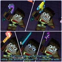 Minecraft Storymode. Jesse making the pickaxe, the axe, the hoe, the sword, and the shovel. I want a sword like that. NOTHING is better than a sword.