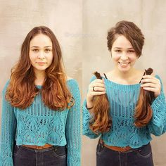 Changing is good, but most women just go to the hair salon to cut their hair, do not they? Girl Short Hair, Short Hair Cuts, Self Haircut, Donating Hair, Before And After Haircut, Chopstick Hair, Hair Products Online, Dope Hairstyles, Short Styles