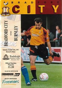Bradford City 0 Burnley 1 in Oct 1993 at Valley Parade. Programme cover #Div2