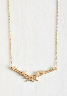 In Perch of Love Necklace. Youre bound to adore this golden pendant necklace now that you've found it! #gold #modcloth
