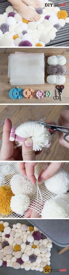 #DIY : Apprenez à réaliser un tapis en #pompons tout doux & à petit prix !