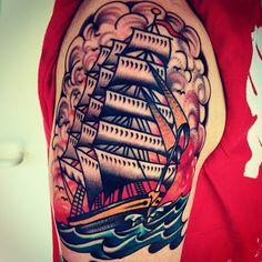 Clipper Ship - CHRISTIAN OTTO | EXPERT TATTOOER at BURNOUT INK. Palma de Mallorca's Finest Tattoo Parlour (Spain)
