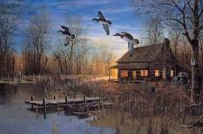 Jim Hansel Passing Through Cabin lake Duck Print 12 x 7.75