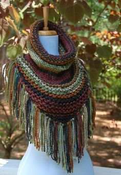 Knit Triangle Scarf Cowl with Fringe - Chunky Scarf with Fringe in Woodland Green Brown