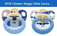 NUK Classic Happy Kids Latex Air Natural Soother Size 2, BPA Free 6-18m Pack of 2. Made of soft, pure natural latex rubber, The NUK orthodontic shape adapts to the baby's mouth area and helps exercise the lips, tongue and facial muscles for healthy development of teeth and jaws. • The NUK Air System helps to ensure the mouthpiece remains soft and flexible. • The NUK orthodontic shape and NUK Air System have been approved by the British Dental Health Foundation. • Soother has integrated...