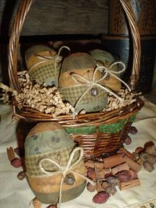 Primitive Easter Eggs are darling in this small basket.