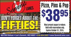 Use this coupon for pizza, bowling, and drinks at Summit Lanes!!  // For more family resources visit www.ifamilykc.com! :)
