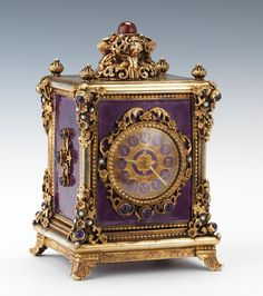 Antique Clocks : A Enamel over Silver Carriage Clock with Reuge Music Box - May 2012 - ASPIR.