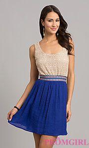 Buy Short Sleeveless Casual Dress at PromGirl