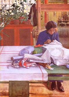 """Carl Larsson, famous Swedish painter. His greatest disappointment was when his last monumental work, """"Midvinterblot"""", which was to have adorned the east wall of the upper stairway in the National Museum of Stockholm, was refused by the committee."""