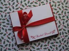 Personalized Candy Cane Flat Note Cards Set of 12