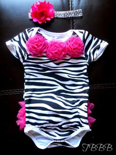 Black and white Baby Zebra Onesie and headband Set, ,Girl romper.. $23.50, via Etsy.