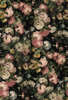 Midnight Garden (MGWALL N) - House Of Hackney Wallpapers - A stunning midnight English garden all rose design – shown in the pinks and cream on a deep black background.  Please ignore dimensions below – the actual dimensions of this stunning digital wallpaper are: W180cm x H 300cm. The single roll comprises of 4 x 3m lengths, each 45cm wide. Wall coverage per roll is 5.4 m2 Paste the wall product