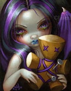 "Voodoo Doll Fairy set of prints by Jasmine Becket-Griffith - gothic fairy art with voodoo dolls - ""Voodoo in Blue"" ""Voodoo in Violet"" ""Voodoo in Pink"""
