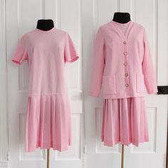 #Vintage L XL Pink Mod #Dress and #Cardigan by AmbassadorGrooviness