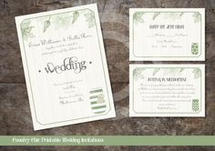 COUNTRY CHIC WEDDING Invitation Kit / Printable Wedding Invitations / Instant Download by OstrichSistersDigits on Etsy