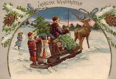 SCARCE GERMAN PURPLE suited SANTA & Children on SLEIGH  REINDEER 1904 L@@K  !!! #Christmas