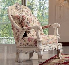 Homey Design Sofa Chair HD-372 for $799  Description:  The beautiful designs of this traditionally styled Sofa Chair HD-372 of homey design  will create a sophisticated look to your formal living room. The elaborately carved wood frame wraps the curves along the top of the seat back and the bottom of the frame, while hand carved hardwood legs offer support and added detail. Padded rolled arms provide added comfort while the luxurious floral patterned fabric adds to the traditional style Chair Upholstery, Chair Fabric, Wingback Chair, Armchair, Living Room Chairs, Living Room Furniture, Formal Living Rooms, Sofa Design, Accent Chairs