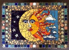Sun Moon Mosaic by artist Lynn Sposito Mosaic Wall, Mosaic Glass, Mosaic Tiles, Glass Art, Mosaics, Stained Glass, Mosaic Mirrors, Sea Glass, Mosaic Art Projects